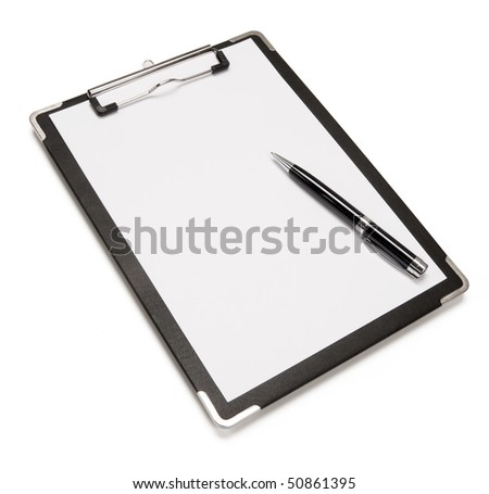 Close up of pen and blank clipboard with copy space. - stock photo