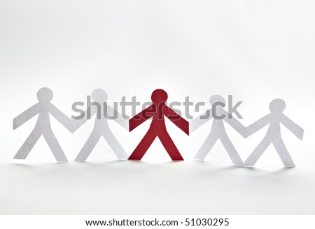 close up of people cut out of paper on white background - stock photo