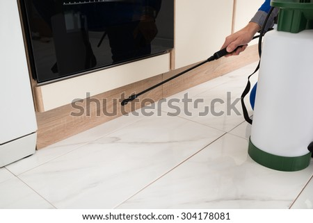 Close-up Of Person Hands Spraying Insecticide With Sprayer In Kitchen - stock photo