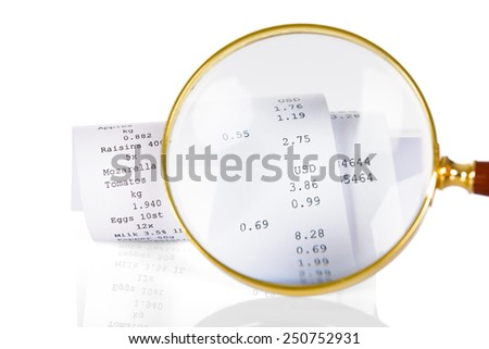 Close-up Of Person Holding Magnifying Glass On Receipt - stock photo