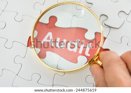 Close-up Of Person's Hand Holding Magnifying Glass Over Audit Text - stock photo