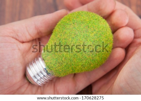 Close-up Of Person's Hand On Wooden Table Holding Bulb