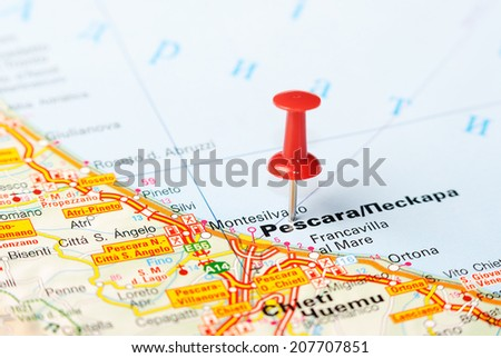 Close up of  Pescara  , Italy map with red pin    - Travel concept - stock photo