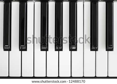 Close-up of piano key. Black and white - stock photo