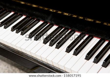 Close up of piano keyboard. - stock photo