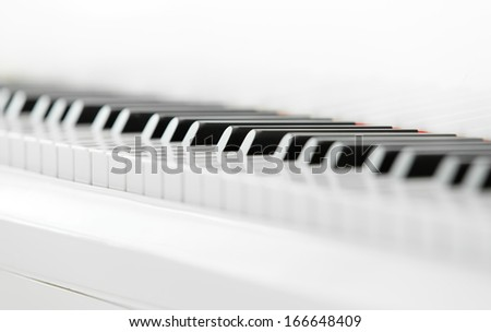 Close up of piano keyboard. Concept of music and creative hobby - stock photo