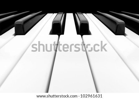 Close-up of Piano Keyboard with plenty of white space - stock photo