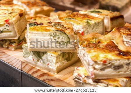 Close up of pieces of a Spanish vegetable quiche  - stock photo