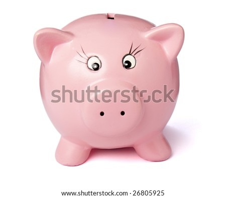 close up of piggy bank on white background with clipping path