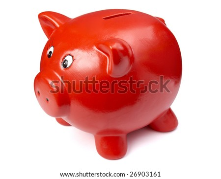 close up of piggy bank on white background  with clipping path - stock photo