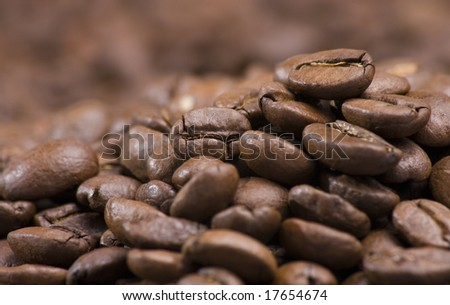Close up of pile of coffee beans