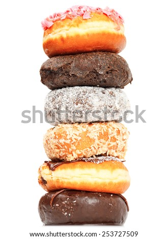Close up of pile of donuts, viewed form above - stock photo