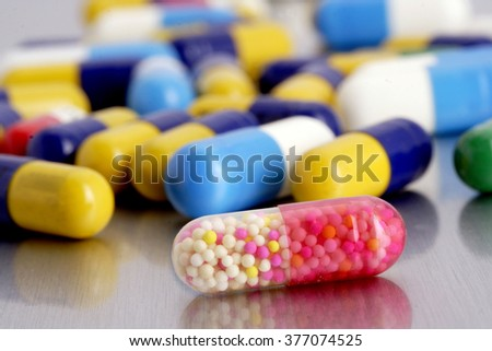 Close up of pills and capsules  - stock photo