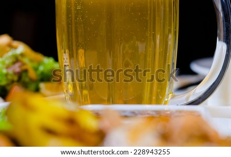 Close Up of Pineapple Cashew Chicken Dish Served in Restaurant - stock photo