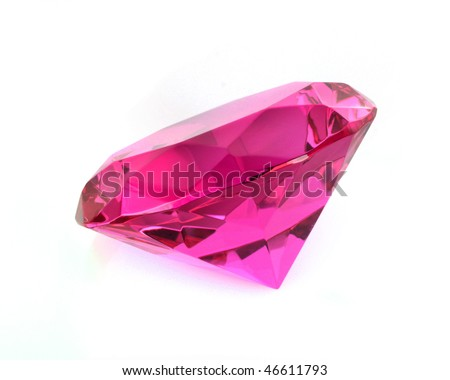 close up of pink diamond over  white background - stock photo