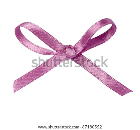 close up of pink ribbon on white background  with clipping path - stock photo