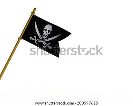 Close up of pirate ship flag - 3d render - stock photo
