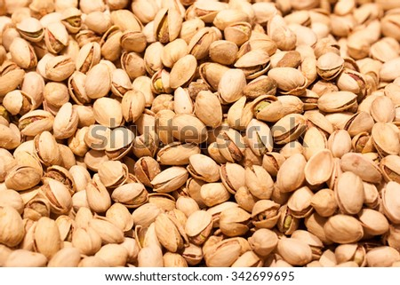Close up of  pistachios. Whole background - stock photo