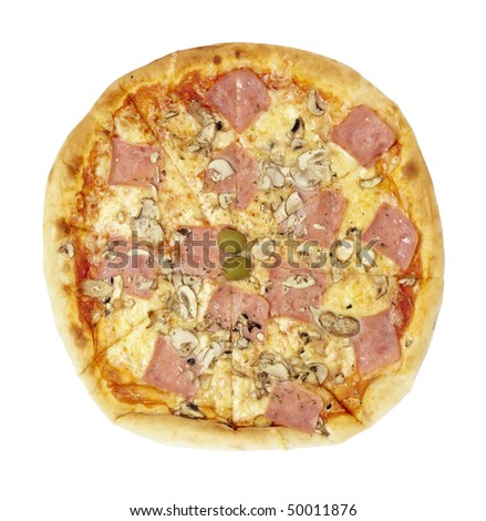 close up of pizza on white background with clipping path - stock photo