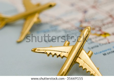 Close up of Planes Over California. Map is Copyright and Trademark Free, Downloaded off www.nationalatlas.gov - stock photo