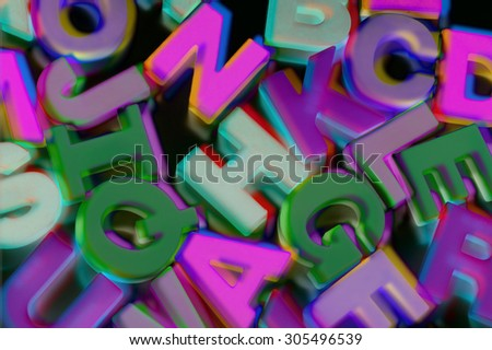 Close Up of Plastic Alphabets  - stock photo