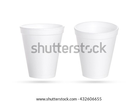 Close up of plastic cup of coffee on white background with clipping path - stock photo