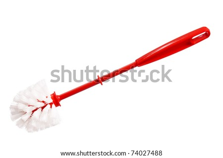 Close Up Of Plastic Red Toilet Brush On A White Background