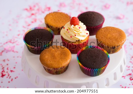 Close-up of plate with cupcakes - stock photo