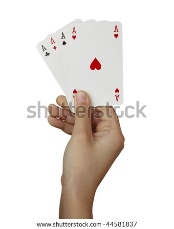 close up of  playing cards poker game on white background with clipping path - stock photo