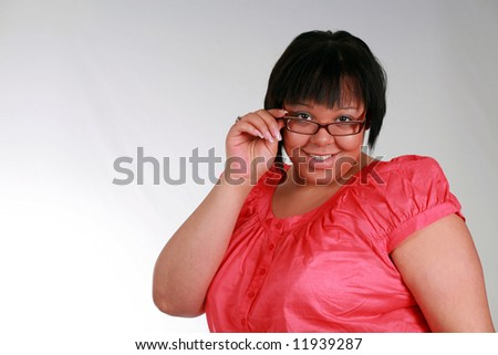 close up of plus size black model smiling