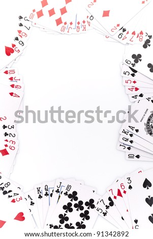 Close-up of poker cards on white background - stock photo