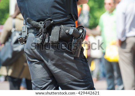 Close-up of police officer on duty