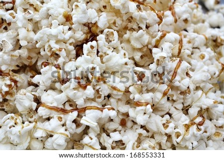 Close up of popcorn with caramel