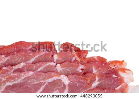 Close up of pork collar slice isolated on white background