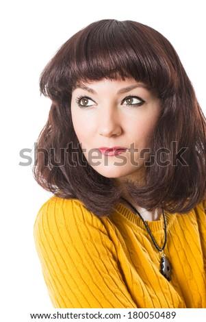 Close up of portrait of beautiful brunette woman on white background. Makeup, fashion, beauty. - stock photo