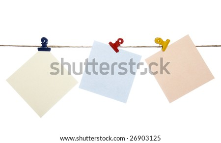 close up of post it reminders on a clothesline on white background with clipping path - stock photo