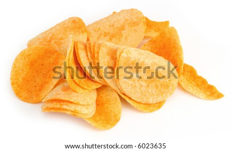 close-up of potato chips on white background, natural shadow underneath