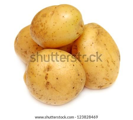Close up of potatoes on white background - stock photo