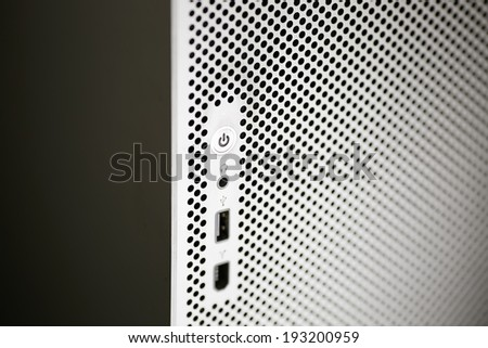 close up of power button - stock photo