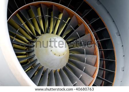 Close up of powerful aircraft engine turbine - stock photo