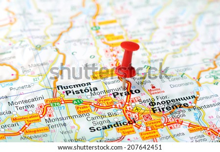 Close Prato Italy Map Red Pin Stock Photo 207642451 Shutterstock
