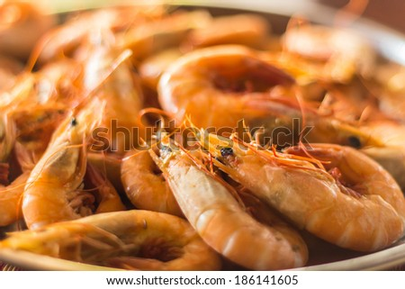 Close up of prawns in plate - stock photo