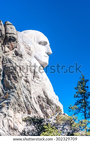 Close-up of President George Washington at Mount Rushmore National Memorial, South Dakota