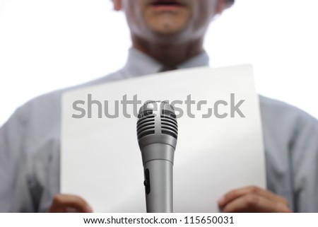 close up of press conference, microphone and spokesman - stock photo