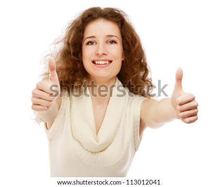Close-up of pretty woman showing thumb up isolated on white background - stock photo