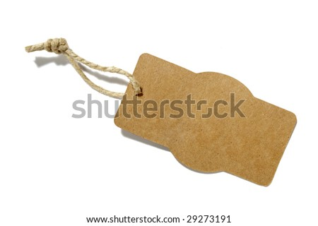 close up of price label on white background with clipping path - stock photo