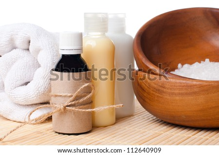 Close-up of products for spa, body care and hygiene on a white background - stock photo