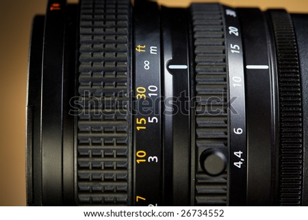 close up of professional photo and video lens - stock photo