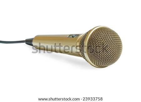 Close up of professional stage mic isolated on white