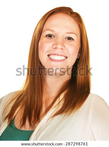 Close up of proud woman with big smile